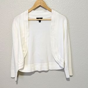 White Knit Cropped Open Front Cardigan